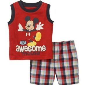 4465d8ea9 Disney Mickey Mouse Toddler Boys 2 Piece Shirt Shorts Set Size 24M ...