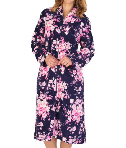 Slenderella Ladies Floral Zip Up Dressing Gown Small Shawl Collar Fleecy Robe