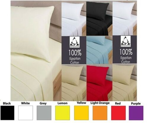"100/% EGYPTIAN COTTON EXTRA DEEP FITTED SHEET 16/"" DROP 40CM FIT IN ALL SIZES"