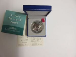 2009 FRANCE  5 EURO SILVER CHINESE YEAR OF THE OX