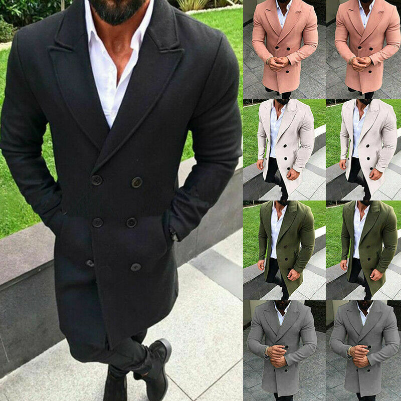 Mens Winter Trench Coat Double Breasted Outdoor Long Jacket Slim Formal Overcoat