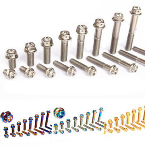 2Pcs Titanium Motorcycle M8x15//20//25//30//35//40//45//50mm Flange Bolts Screws Bolts