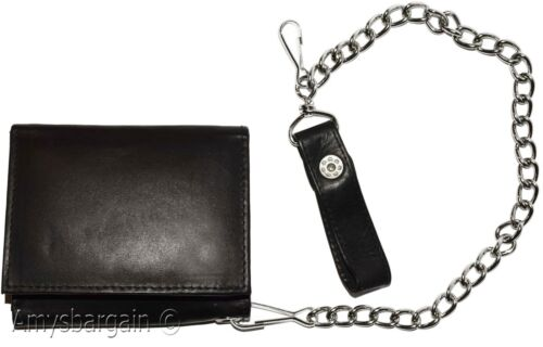 men/'s genuine leather Black trifold chain wallet motorcycle trucker biker wallet