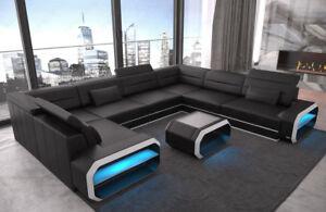 Wohnlandschaft Sofa U Form Couch Schlaffunktion Ecksofa Verona U Led