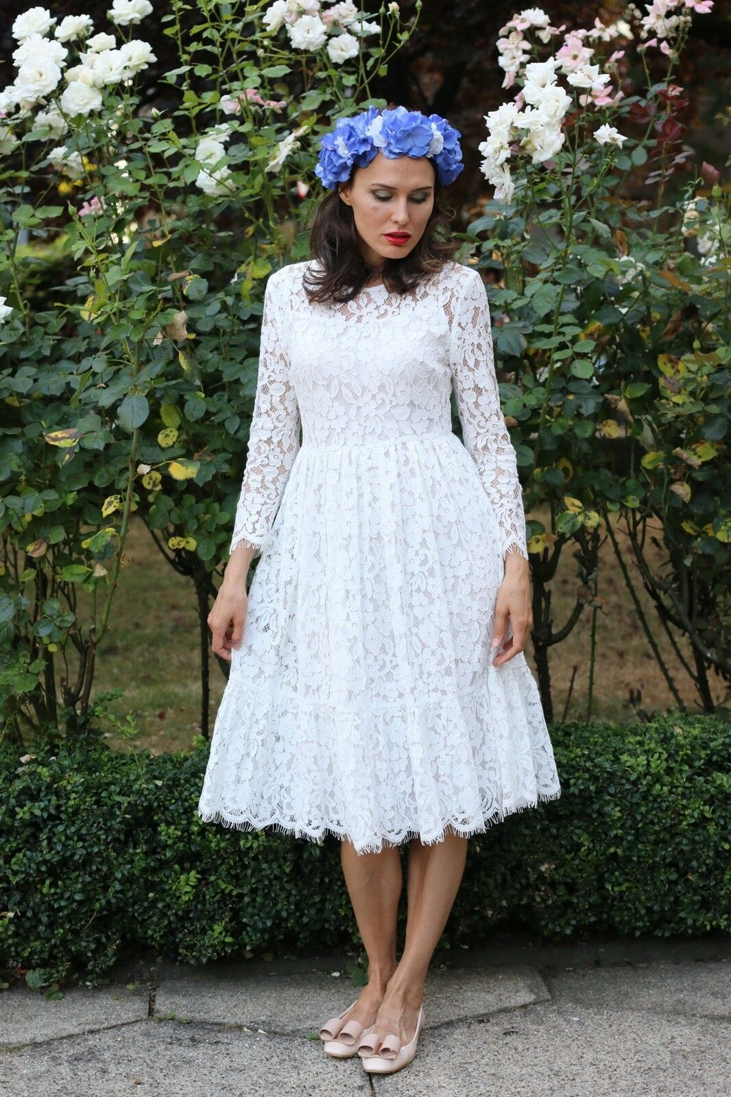 White Lace Designer Summer Spring Sheath Casual Womens Long Sleeve Dress S 8