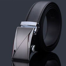 Fashional Automatic Buckle Mens Waistband Ratchet Real Genuine Leather Belts