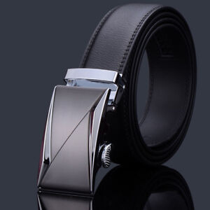 New-Fashional-Automatic-Buckle-Mens-Waistband-Ratchet-Real-Genuine-Leather-Belts