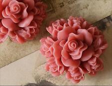 2x Resin Cabochons Blumen zum Kleben 29mm altrosa tm216