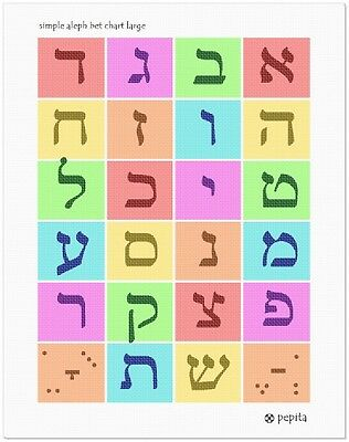 Simple Aleph Bet Chart Large Needlepoint Kit or Canvas Jewish//Judaica//Letters