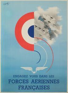 Affiche-Originale-R-Louvat-Forces-Aeriennes-Francaise-WW2-1944