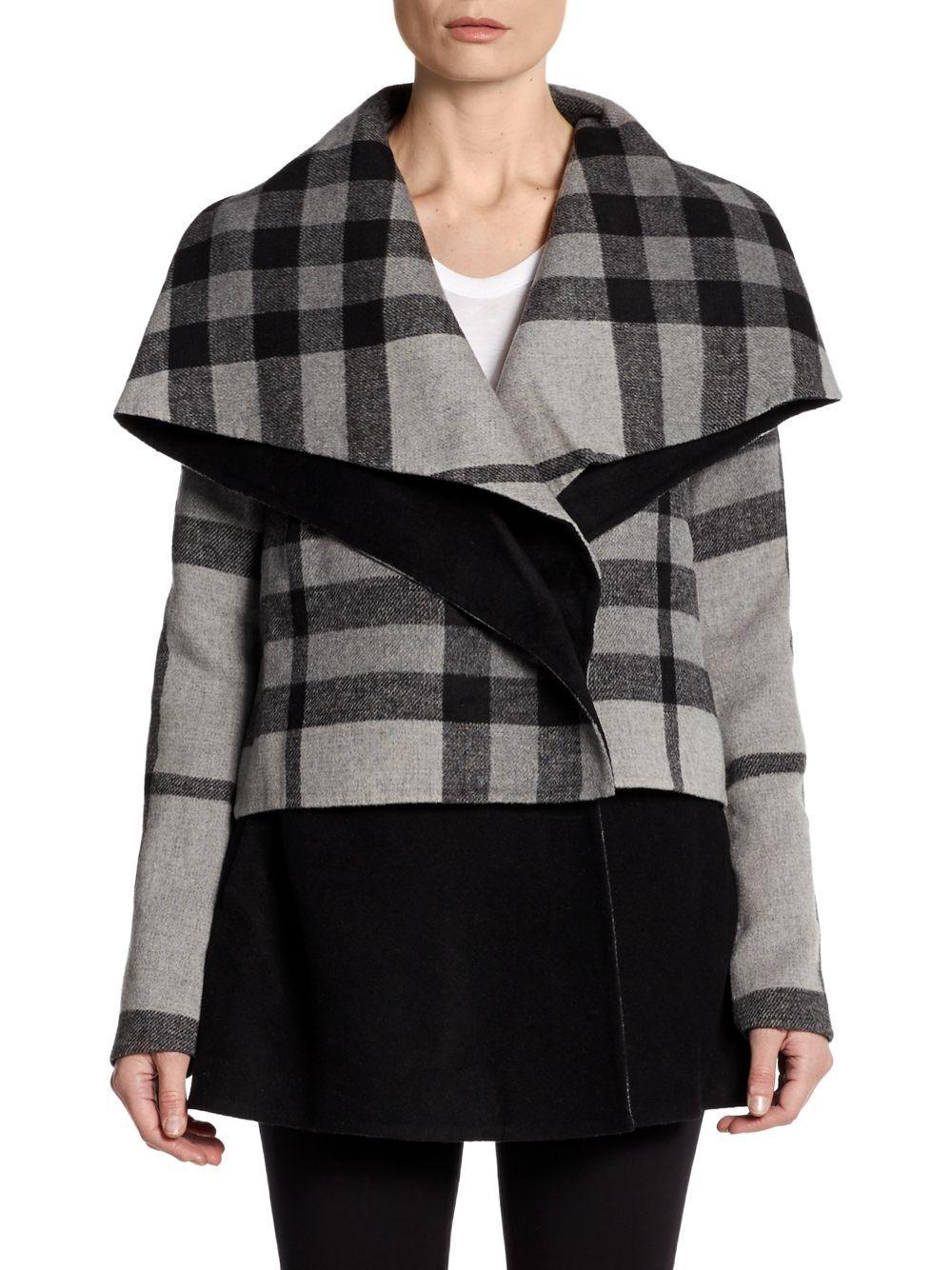 Badgley Mischka Women's Molly Plaid Collar Coat # LARGE