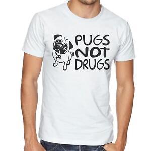 f2a5d42ca La imagen se está cargando Pugs-No-Drogas-T-Shirt-Hombre-Mujer-Camiseta-