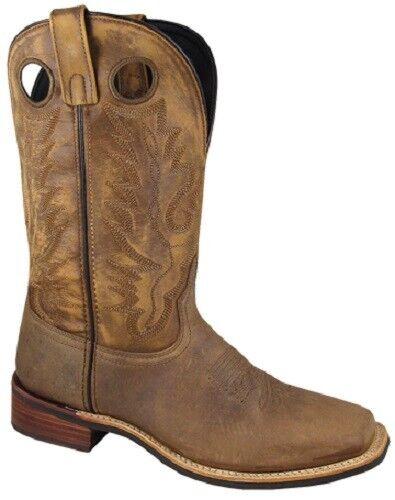 nuevo  Smoky Mountain botas-De Hombre Cuero Marrón-vaquero occidental crujido Cuadrado