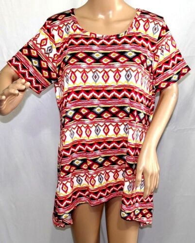 American City Wear Women Plus Size 1x 2x 3x Sharkbite Floral Top Blouse Shirt