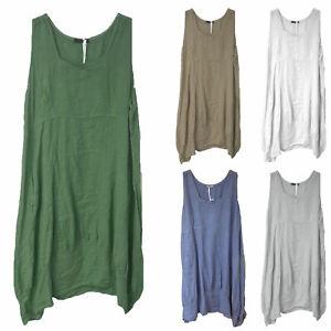 Women-Italian-Lagenlook-Quirky-Balloon-Boho-Tulip-Linen-Plain-Ladies-Vest-Dress