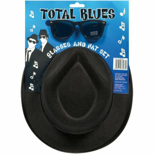 NEW ADULT FANCY DRESS BLUE BROTHERS HAT GLASSES TIE UNISEX SUEDE LOOK WILD WEST