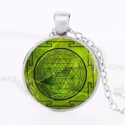 Sri Yantra Mandala Pattern Glass Pendant Necklace Buddhist Sacred Geometry Silver Chain Necklace Spiritual Jewelry