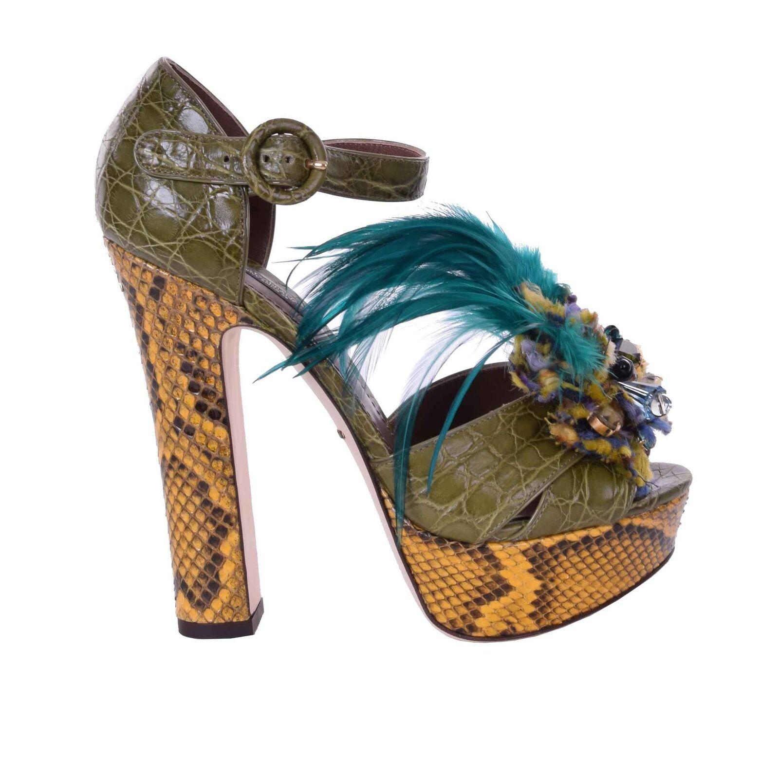 Dolce & Gabbana cocodrilo plataforma de salón sandalias, zapatos broche verde 06153