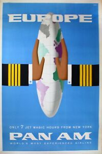 Travel Airline Poster-Pan Am-Europe-7 Magic Jet  Hours-Bobri Art-50s-JGPS