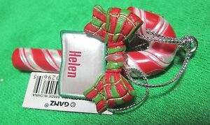 3D Candy Cane Bow Christmas JOY Memory! HAILEY HELEN Ornament Personal Name