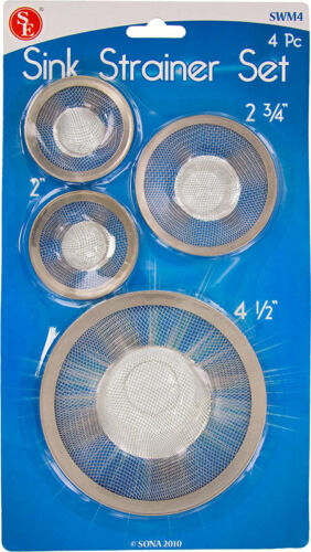 US FREE SHIPPING * New Set of 4 Stainless Steel Tub//Sink Mesh Strainer