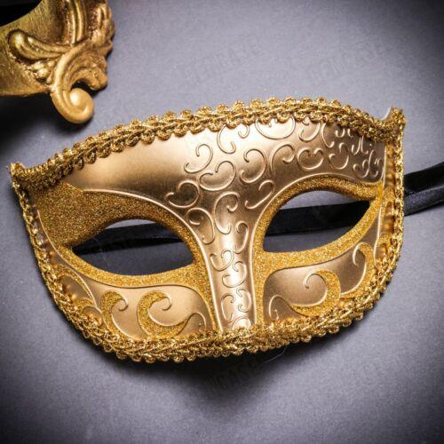 Ball Party Venetian Masquerade Eye Masks for Couple Men /& Women Pair Set GOLD