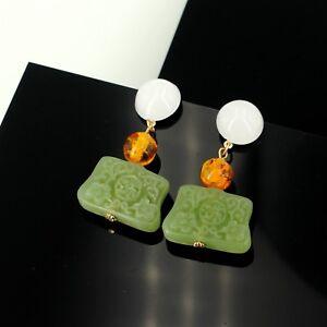 Earrings-Golden-Amber-Jade-Imitation-Green-Resin-Engraving-Retro-DD11