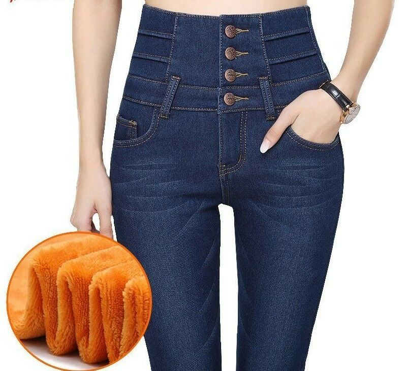 Cashmere Ultra-Soft Warm Jeans damen Winter Hight Waist Four Cuff Tighten Pants