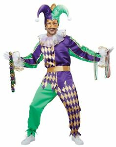 Mardi-Gras-Jester-Halloween-Costume-Adult-Men-XS-36-38-Bonus-Beads