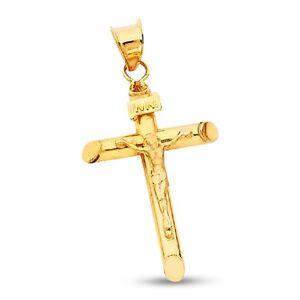 "14k Solid Yellow Gold Jesus Crucifix Cross Religious Charm Pendant INRI 1.8/"""