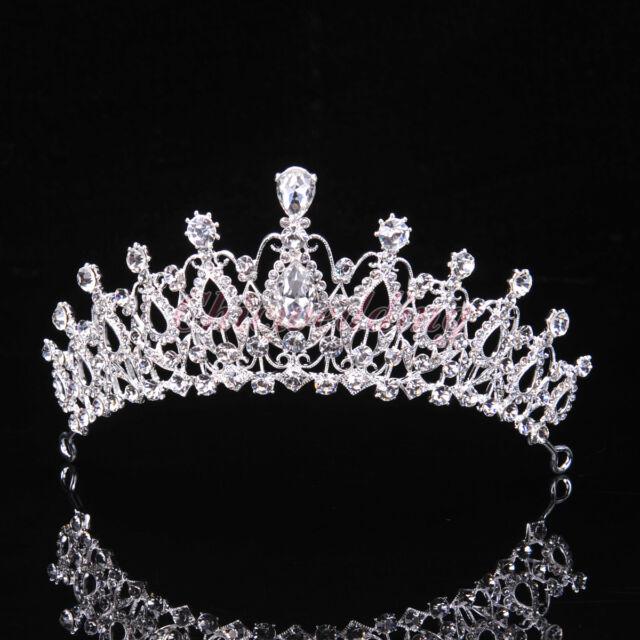 Luxury Crystal Tiara Crown Wedding Pageant Veil Headband Hair Accessory Silver