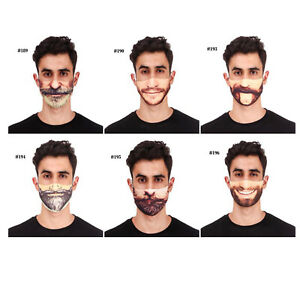 Mens 3d Printed Funny Face Mask Breathable Washable Mouth Protection Reusable Uk Ebay