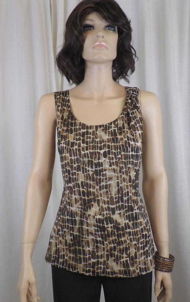 St. John Gold Wheat Multi Print Sleeveless Silk Top Sz. 6 NWT