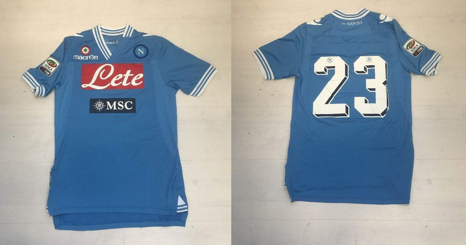 3524 MACRON NAPOLI T-SHIRT COMPETITION HOME 23 MATCH SHIRT 2013 JERSEY TRIKOT