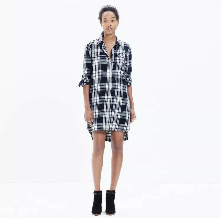 NWT Madewell Flannel Daywalk Daywalk Daywalk Shirtdress Glendale Plaid Size Small S High Low 3aecd8