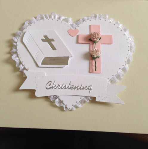 BEAUTIFUL BABY GIRL LACE EDGED CHRISTENING CARD TOPPER