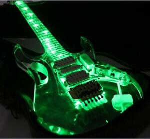 NEW-LED-Light-Electric-Guitar-Full-Acrylic-Body-amp-Neck-Crystal-Guitar-Green-Color
