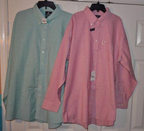 Stafford Travel Wrinkle Free Oxford Regular Fit Dress Shirts Raspberry Green OX