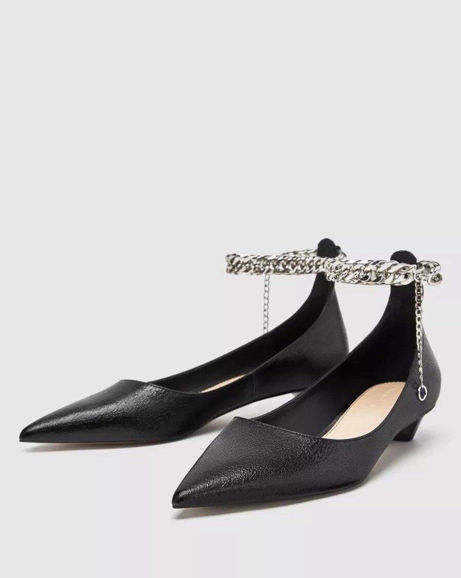 Zara Noir Faux Cuir Ballerine Chaussures Avec Chaîne de Sangle De Cheville EU 39.UK 6