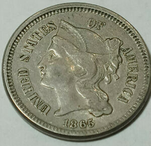 Pure high grade Copper US Coin.Antique 1865 3 Cent Piece NICKEL XF CONDITION