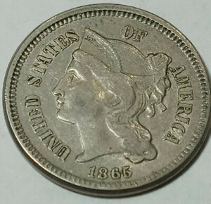 Pure-high-grade-Copper-US-Coin-Antique-1865-3-Cent-Piece-NICKEL-XF-CONDITION