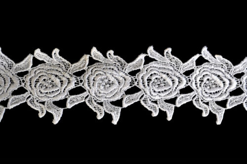 """Kiddo 3/"""" White or Ivory Roses Flower Guipure Floral Venice Lace Trim by Yardage"""