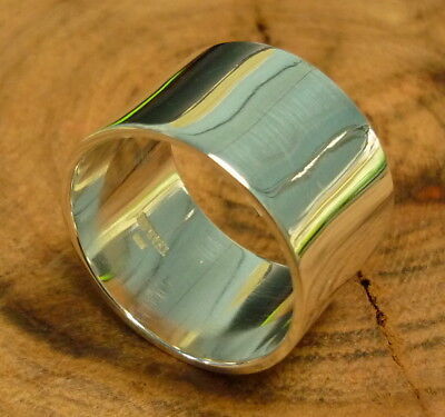 Unisex 925 sterling silver 15mm wide flat band ring