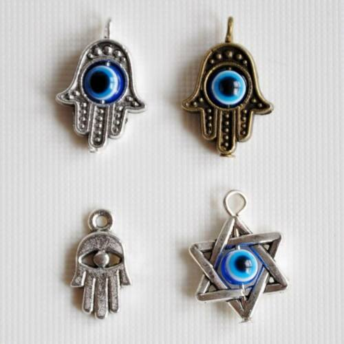 10 x Hamsa Hand Fatima Evil Eye Star of David Religious Charm Pentant UK