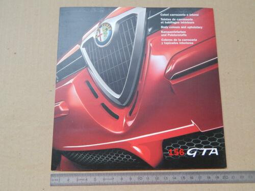TABELLA COLORI CARROZZERIA ED INTERNI ESCLUSIVA PER ALFA ROMEO 156 GTA 3.2 v6