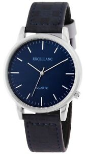 Excellanc-Herrenuhr-Blau-Silber-Analog-Kunst-Leder-Armbanduhr-Quarz-X1900033002