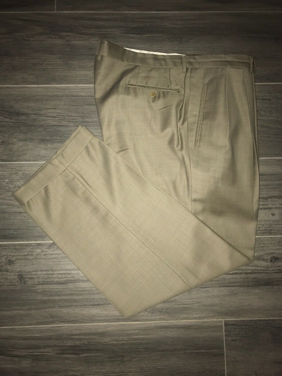 Ermenegildo Zegna Brown Pleated Front Cuffed Dress Pants Size 41x30 EUC