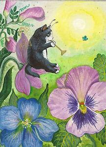 ACEO-PRINT-OF-PAINTING-RYTA-TUXEDO-CAT-KITTEN-ANGEL-FAIRY-GARDEN-FLOWERS-ART-SUN