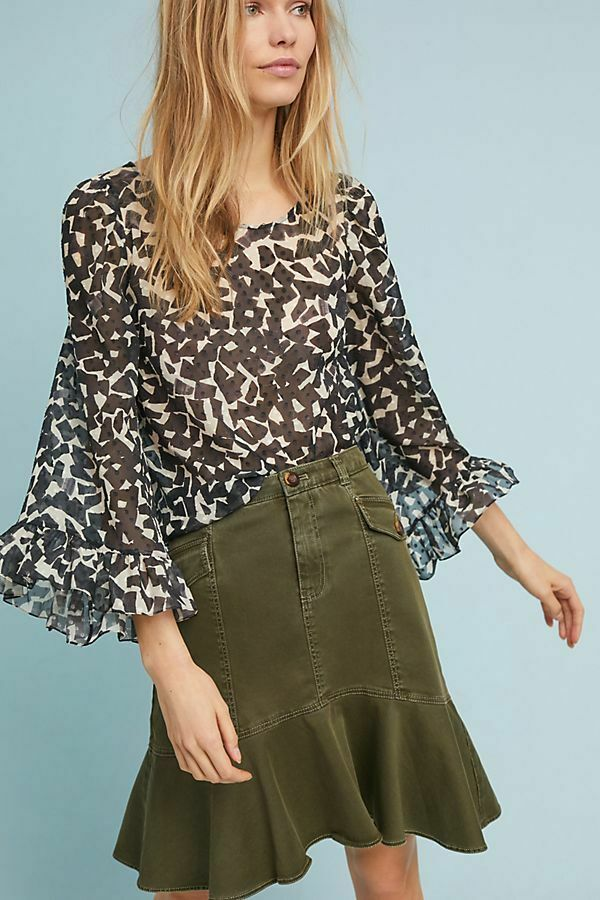 NEW ANTHROPOLOGIE Utility Flounced Skirt 2 XS by Maeve