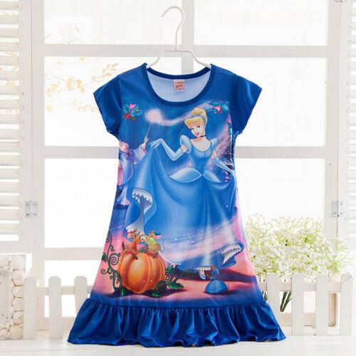 Kids Girls Toddler Princess Nightdress Nightie Sleepwear Pajamas Pjs Mini Dress